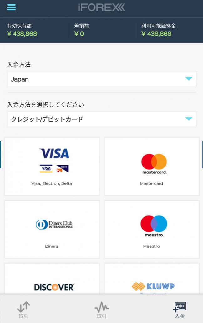 iFOREXアプリの入金画面