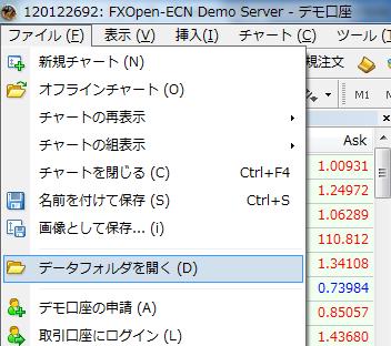 MT4データフォルダの開き方