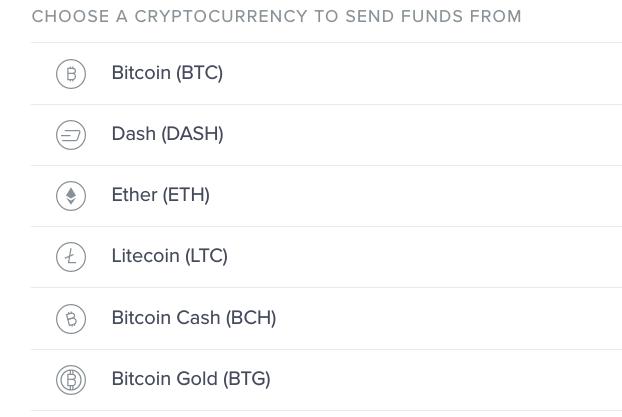 Upholdに入金可能な仮想通貨