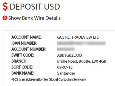 Tradeviewの入金先、サンタンデール銀行