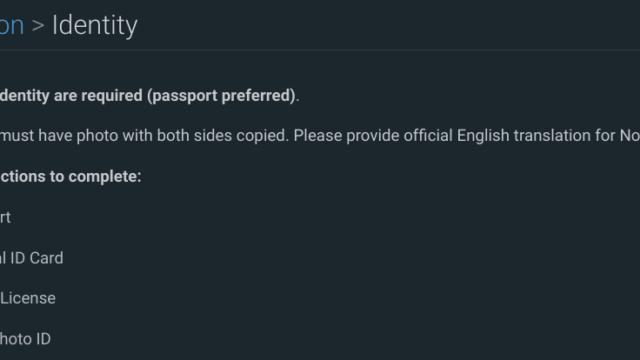 Bitfinexに身分証明書提出