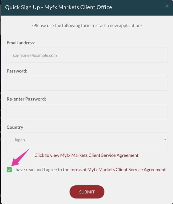 Myfx Marketsクライアントポータルのメールアドレスとパスワードの設定